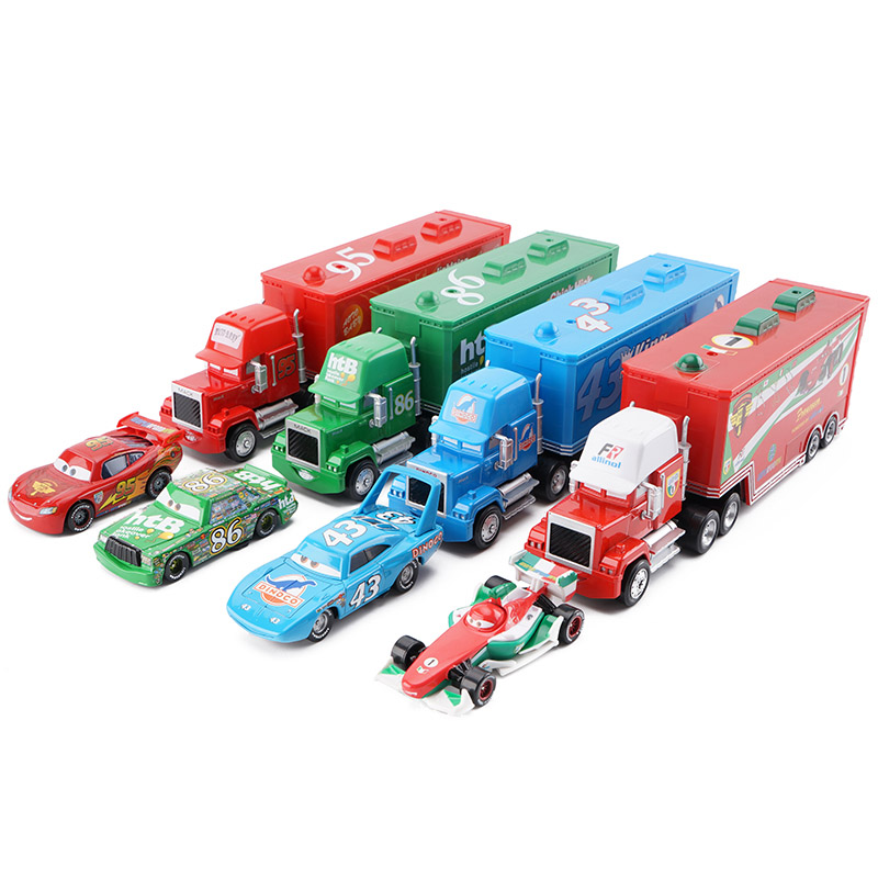 Disney Pixar Cars 2 3 Lightning McQueen King F1 Uncle Cargo Truck Diecast Alloy Cars Model Children's Day Gift Toy For Kid Boy disney pixar cars 3 new lightning mcqueen jackson storm cruz ramirez diecast alloy car model children s day gift toy for kid boy