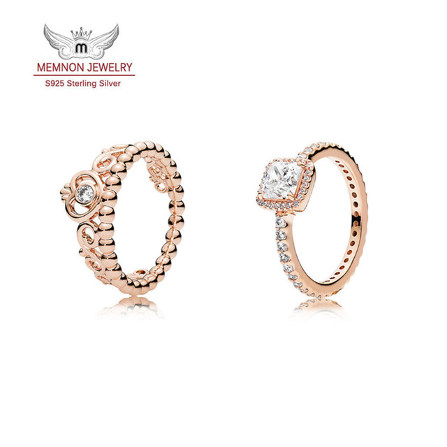 Elegância intemporal e Minha Princesa anel 925 anéis de prata esterlina para mulheres com Rose banhado a ouro anillos Memnon Jóias conjunto