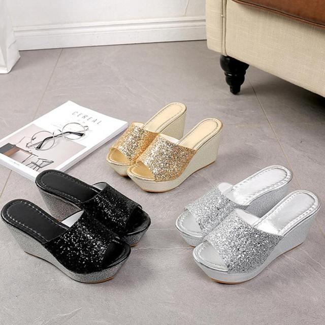 4e55a6865 Women Casual High Heel Wedge Skid Slippers Summer Lady Sandals Black Gold Silver  Bling Slides Shoes