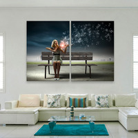 Free Shipping Stretched Canvas Prints Playing The Violin LED Flashing Optical Fiber Print LED Wall Art LED Decorations