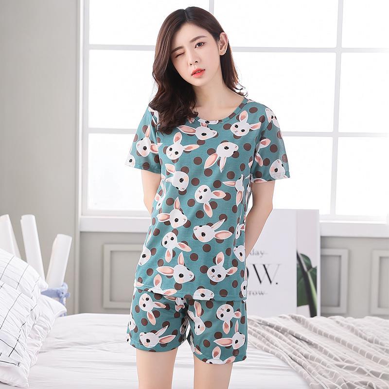 2019 New women   pajamas     sets   female Korean cartoon short sleeved summer leisure suit Women cute Home Furnishing clothing
