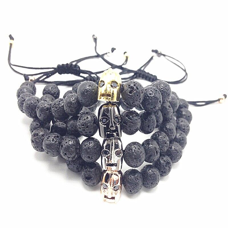 1pcs 2016 New 8mm Lava & Warrior Charm Bracelet for men brand bracelet jewelry