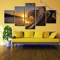 Canvas Painting Home Decor Abstract Ocean Pictures Frame 5 Pieces HD Printed Huge Sea Waves Sunset Poster Living Room Wall Art