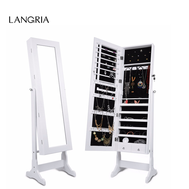 LANGRIA Free Standing Lockable Mirrored Jewelry Armoire With Stand And 2  Drawers 3 Angle Adjustable Cabinet