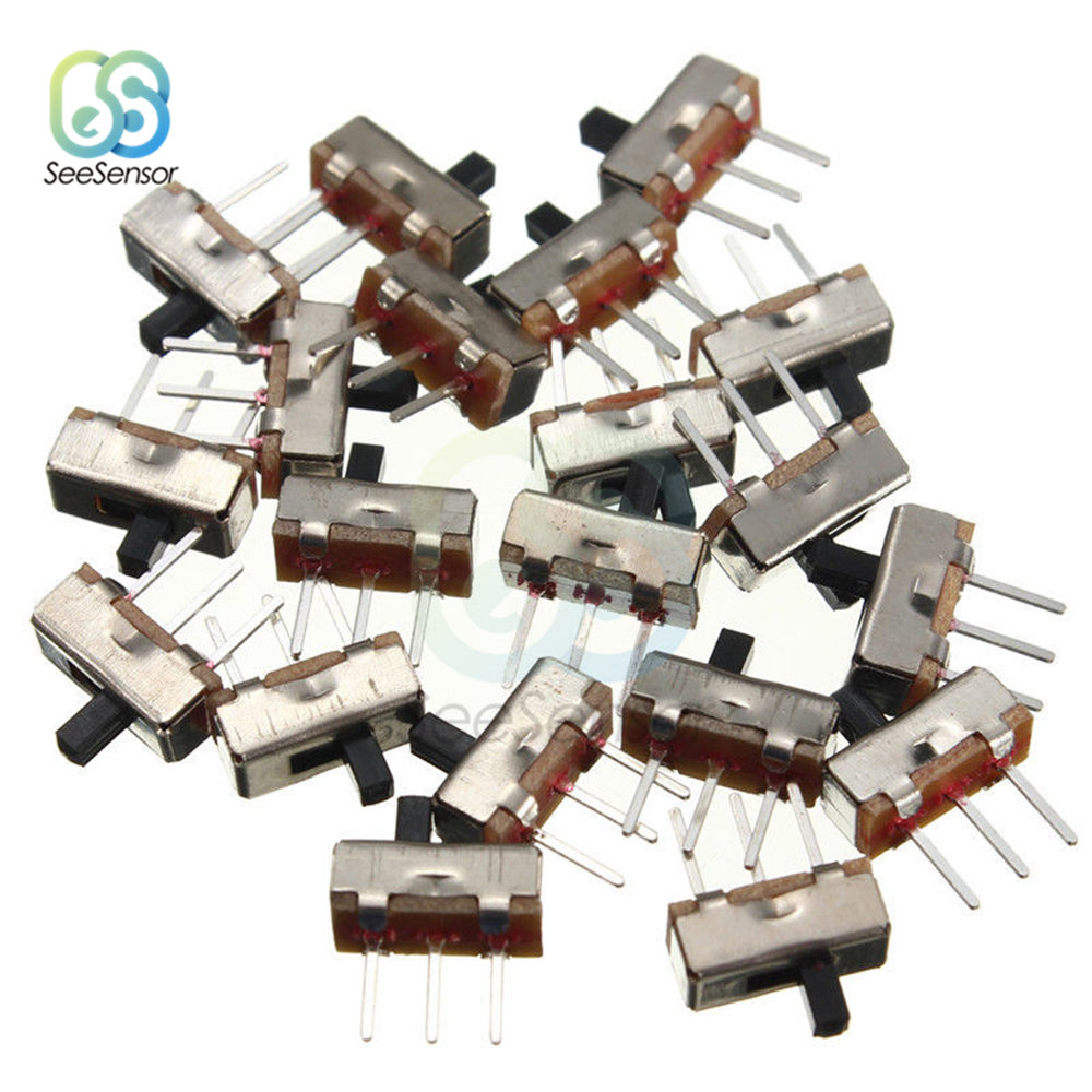 20Pcs SS12D00 SS12D00G3 Interruptor On-off Mini Slide Switch 3pin 1P2T 2 Position Toggle Switch Handle Length 3mm