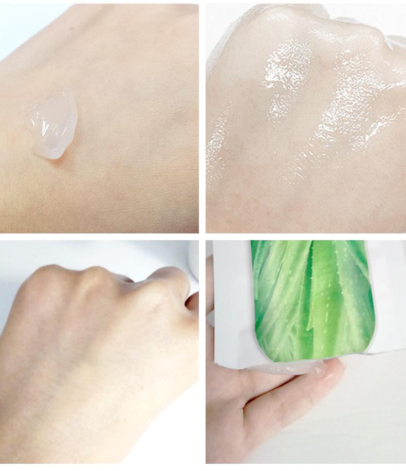 Produkt ujędrnia skórę. Na zdjęciu pokazana maseczka aloesowa nałożona na skórę.