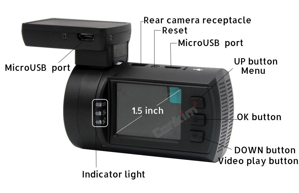 Conkim Mini 0906 Two Camera GPS Car DVR Registrar 1080P Full HD Rear View Camera Capacitor Dual Lens DVR Parking Guard Sensor 18