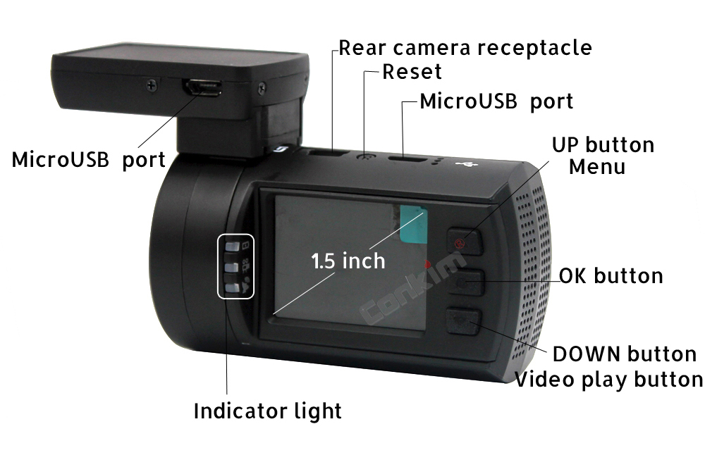 Conkim Dual Lens Car Dash Camera GPS DVR Front 1080P FHD+Rear Camera 1080P FHD Parking Guard Motion Detect Mini 0906 Novatek Cam 17