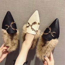 Fur slippers female autumn and winter new rabbit fur outside wearing baotou half pointed toe casual Mules shoes women