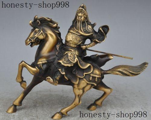 Christmas Chinese bronze Dragon Guan Gong Guan Yu God Warrior Ride Horse sculpture Halloween