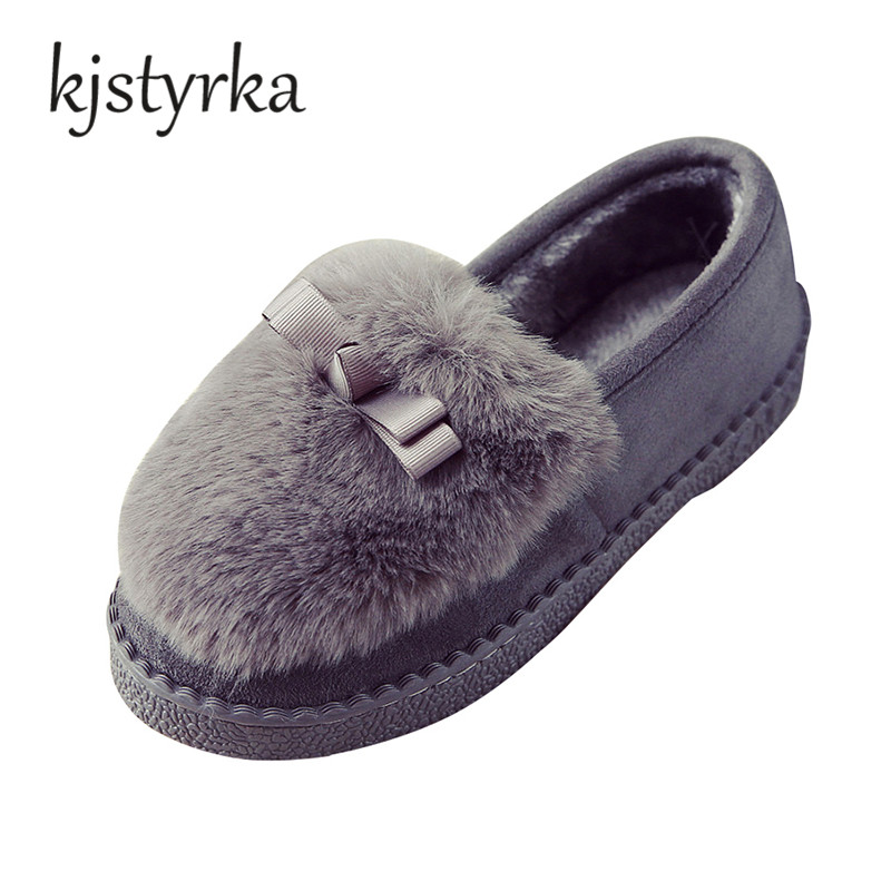 Kjstyrka 2018 Autumn winter women's Flat Heel shoes students warm plush  Shoes Soft Comfortable loafers women Flats slip on siketu sweet bowknot flat shoes soft bottom casual shallow mouth purple pink suede flats slip on loafers for women size 35 40
