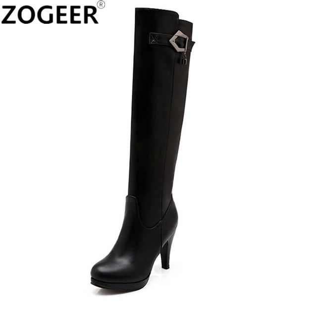 e54807afab5 Plus Size 48 Hot 2019 Autumn Winter Knee High Boots Women High Heels Long  Boots Soft PU Leather Buckle Fashion Shoes Woman