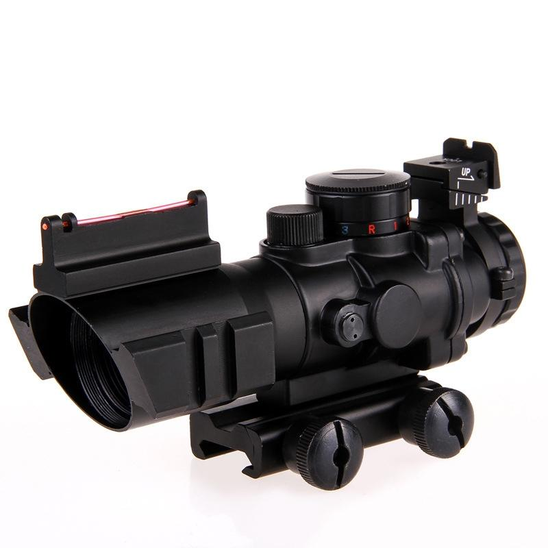 LumiParty 4X Reflex Optics Riflescope Tactical Sight for Hunting Gun Rifle Magnifier Aimpoint Scope 4x magnifier scope fts flip to side for aimpoint or similar scopes sights for airsoft hunting