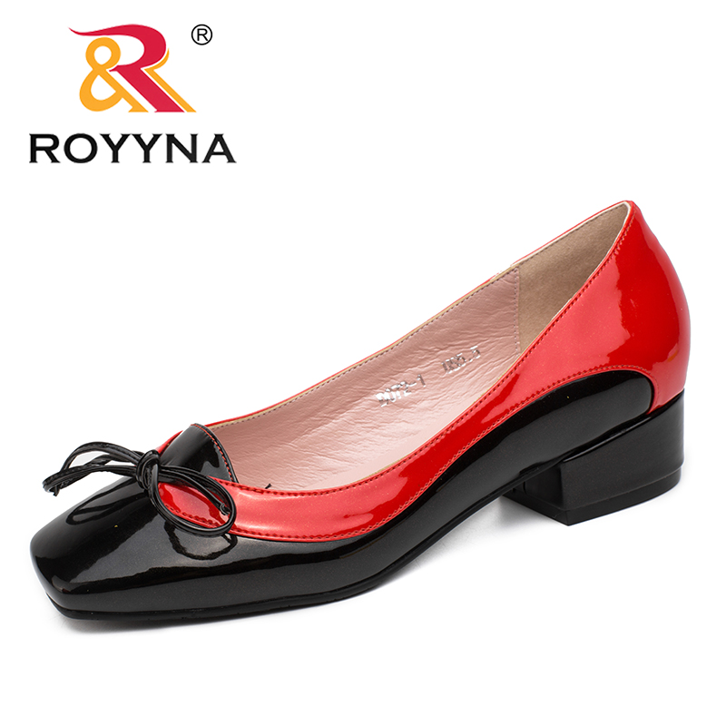 Image 4 - ROYYNA New Arrival Fashion Style Women Pumps Butterfly Knot Women Dress Shoes Square Toe Women Office Shoes Shallow Lady Shoes-in Women's Pumps from Shoes