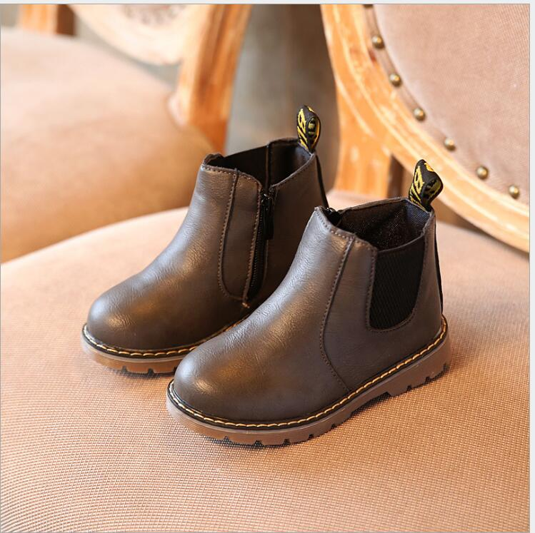 2017 Autumn Winter Kids Shoes Boys Girls Winter Boots Classic Children Shoes British Style Martin Boots For Girls 3 Color