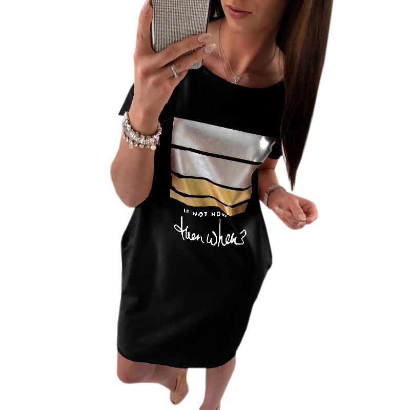 Kawaii Letter Print Dress Short Sleeve Women Summer Dressses Pockets Casual Mini Sundress Female Fashion Mujer 3XL Dress GV801