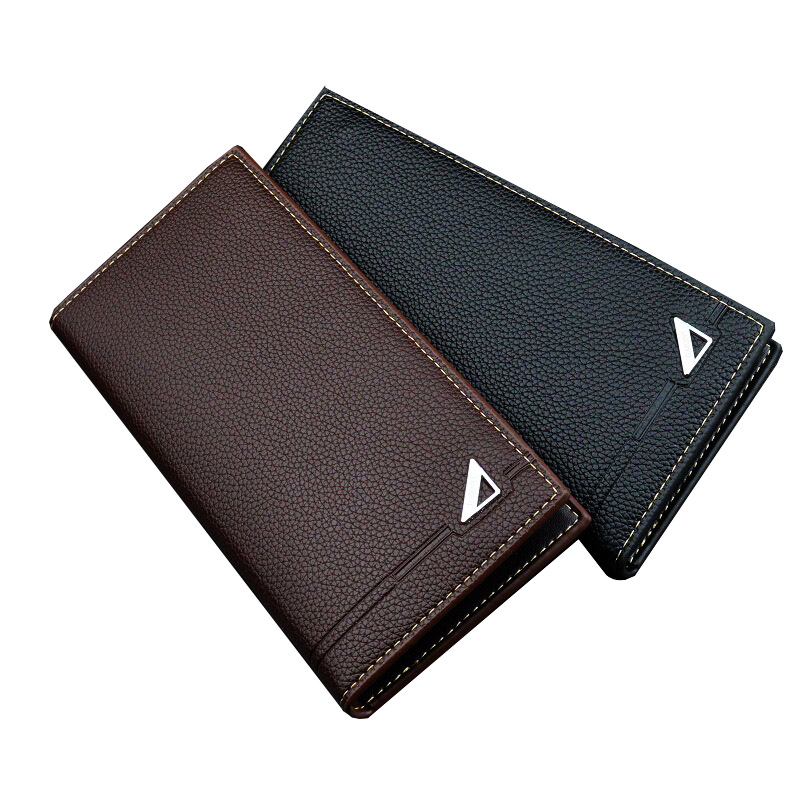 Hot Sale Mens Long Wallet Three Fold Solid Color Multi-card Card Holder Male Purse Clutc ...
