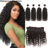 Rebecca Malaysian Deep Wave 4 PCS Human Hair Braiding Bulk No Weft 10 To 28 30 Inch Remy Bulk Human Hair Natural Color