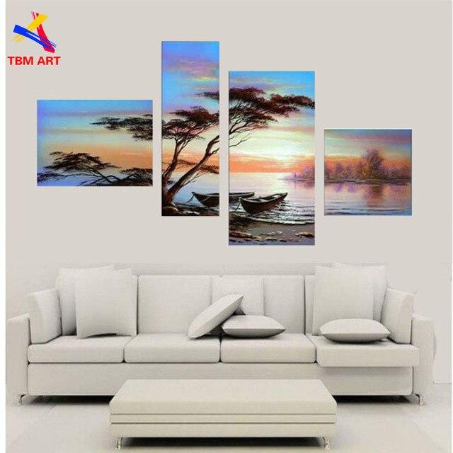 TBM ART Directly from Artist 4pcs 100% Handmade Modern Abstract Landscape Oil Painting Wall Art Gift Living Room Decor JYJLV154