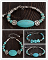 Turquesa do Vintage pulseiras geométricas Bohemia Chains pulseira Alloy mulheres jóias mulher pulseiras pulseiras Joyeria