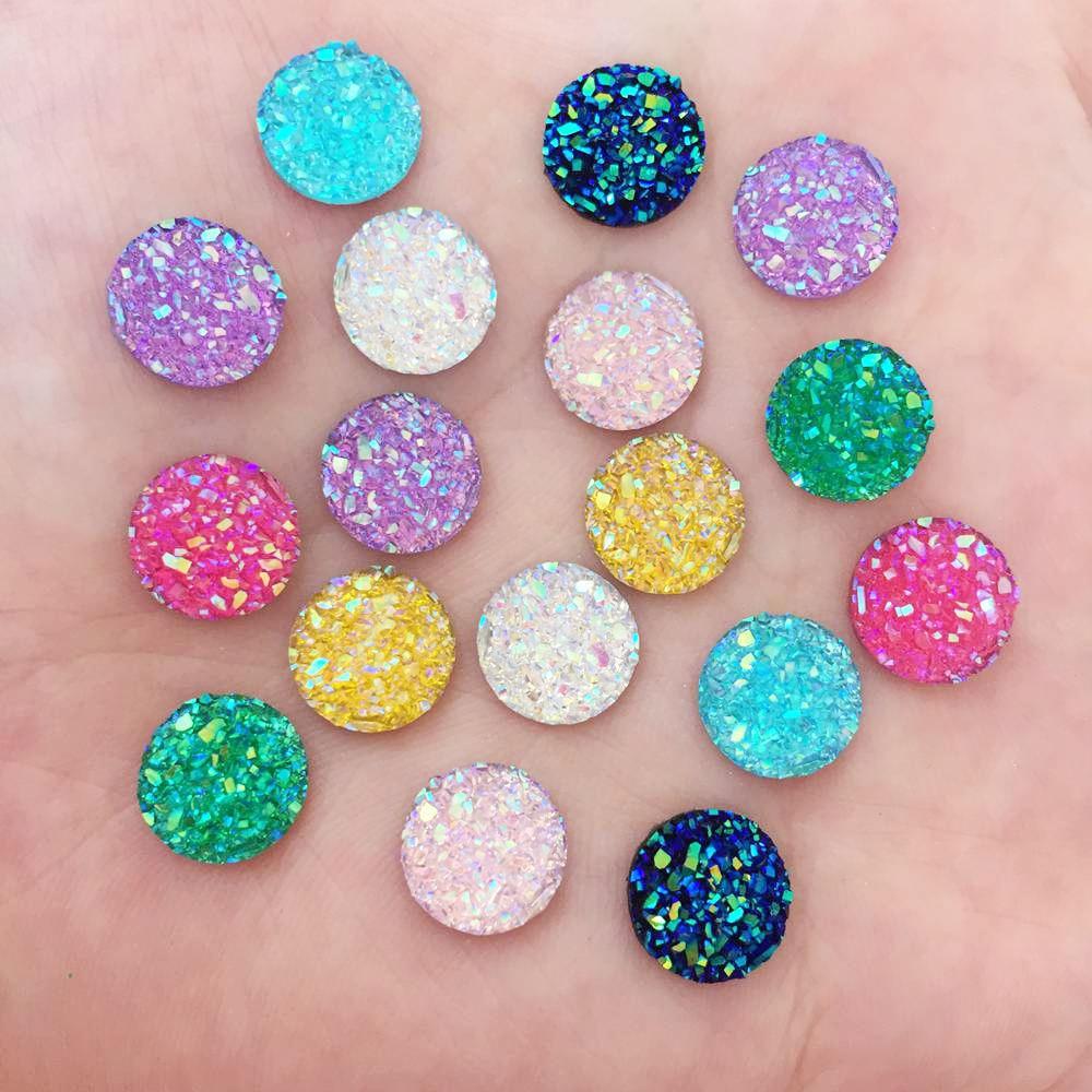 AB Resin 10mm Round Ore Cabochon Beads Flat Back Rhinestone 100pcs Applique DIY Wedding Half Beads Ornaments Craft PW64