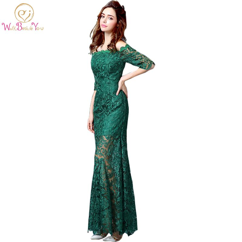 Green Lace Evening Dresses 2018 Half Sleeves Off the Shoulder Long ...