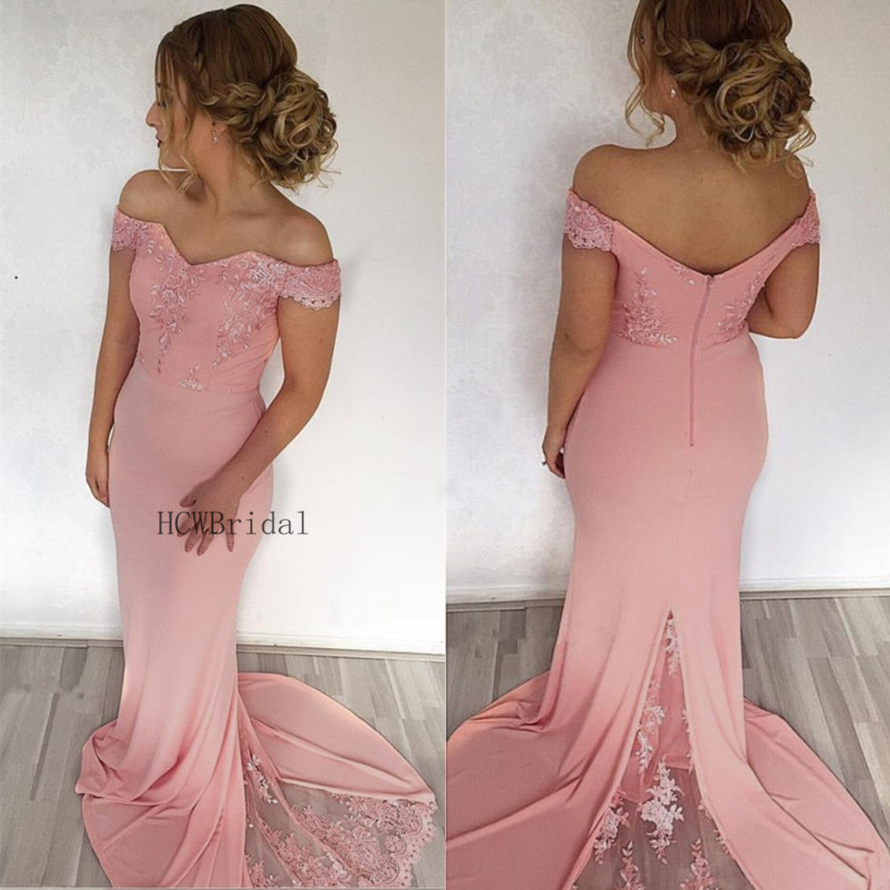 Elegant Blush Pink Mermaid Prom Dresses Off The Shoulder Boat Neck Appliques Elastic Satin Long Formal Dress Cheap Party Gowns