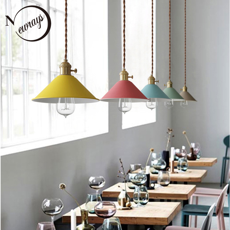 Loft Nordic iron pendant light LED E27 modern countryside hanging lamp with 7 colors for living room bedroom restautant hotelLoft Nordic iron pendant light LED E27 modern countryside hanging lamp with 7 colors for living room bedroom restautant hotel