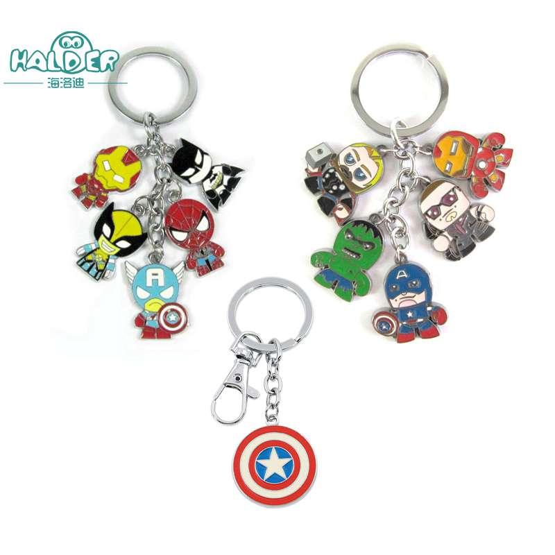 Halder The Avengers Marvel Character Captain America KeyChain Shield Hulk Batman Mask Keyrings Bag Key Chain Pendant