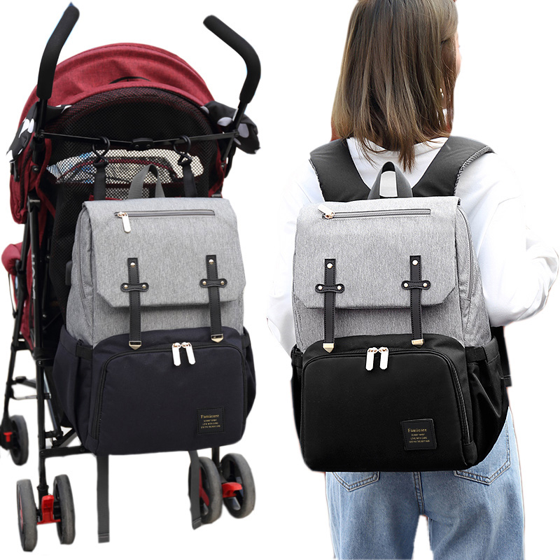 New Mummy Diaper Bag Baby Stroller Bag USB Charging Waterproof Oxford Women Handbag Maternity Nursing Nappy backpack Travel Bags 5