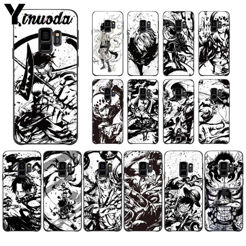 Yinuoda One piece Anime Luxury Soft Rubber Black Phone Case For GALAXY  s7 edge s8 plus s9 plus s6  s10