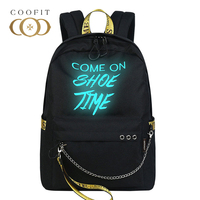 Coofit New Luminous Fashion Backpack Mochila Womens Glow Letters Printing School Backpack Bag For Girls Teens With Chain Bagpack