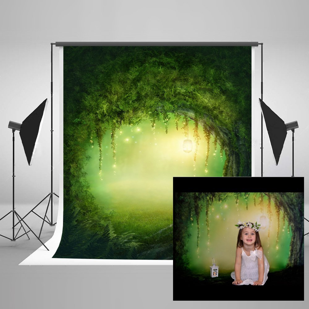 Kate Cartoon Green Dream Forest Photography Studio Backgrounds Tree Hole Scenic Photo Backdrops Children  Photography Backdrop