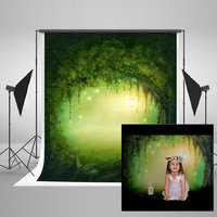 5x7FT Kate Green Dream Forest Photography Studio Backgrounds Tree Hole Scenic Photo Backdrops Children Baby Photography