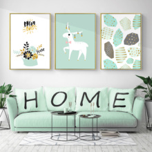 Green Sitting Room Decorates Picture Canvas Painting Print Sofa Setting Triplets Hangs Modern Wall Art
