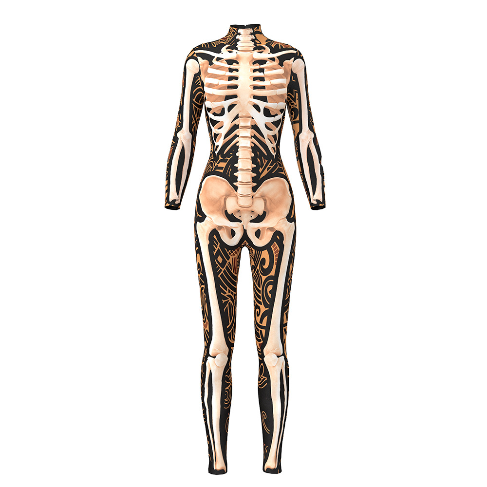 3D Skeleton Zentai  Cosplay Women Skull Printing Jumpsuits Halloween Costumes for Women Carnival Party Long Sleeve Bodysuit