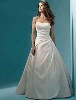 Элегантный без бретелек блесток бисер Vestidos De Novia атласная плиссированное платье с открытой спиной А силуэт Макси Свадебные платья Robe De mariée
