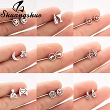 Shuangshuo Angel Baby Earings Stud Earrings For Women orecchini Stainless Steel oorbellen Heart brincos pendientes mujer(China)