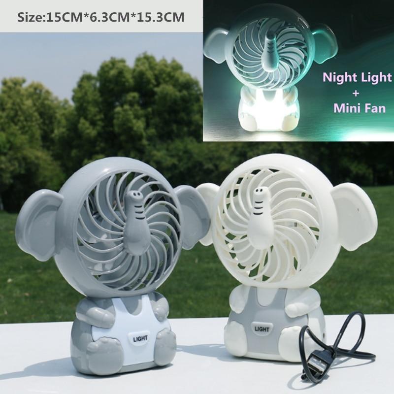 Elephant Cartoon USB Charged Portable Kids Mini Night Light Fan Office Desktop Nursery Outdoor Lamp Gifts