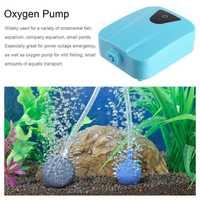 Solar Powered DC Charging Oxygenator Fishing Air Pump Water Oxygen Pump Pond Aerator with 1 Air Stone Aquarium Airpump