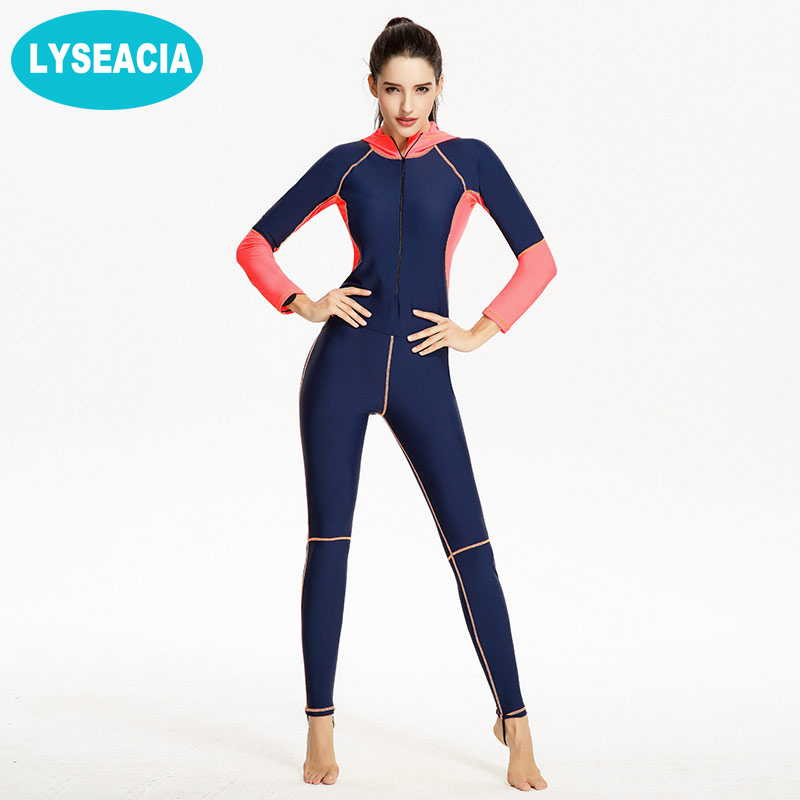 LYSEACIA Long Swimwear Woman Slim Full Body Swimsuit for Women Zipper Hoodies Large Size Wetsuit for Swimming Summer Diving Suit high quality zipper long sleeve women swimsuit round collar sexy one pieces swimwear girl wetsuit diving swimming suit