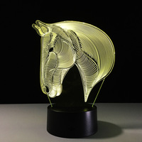 3D LED Horse Night Light Hologram Illusion Table Lamp Change Color USB Novelty Animal Luces Navidad LED Desk Bedside Lamps