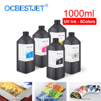 1000ML 5Colors/Set LED UV Ink For DX4 DX5 DX6 DX7 Printhead For Epson 1390 R1800 R1900 4800 4880 7880 9880 UV Flatbed Printer