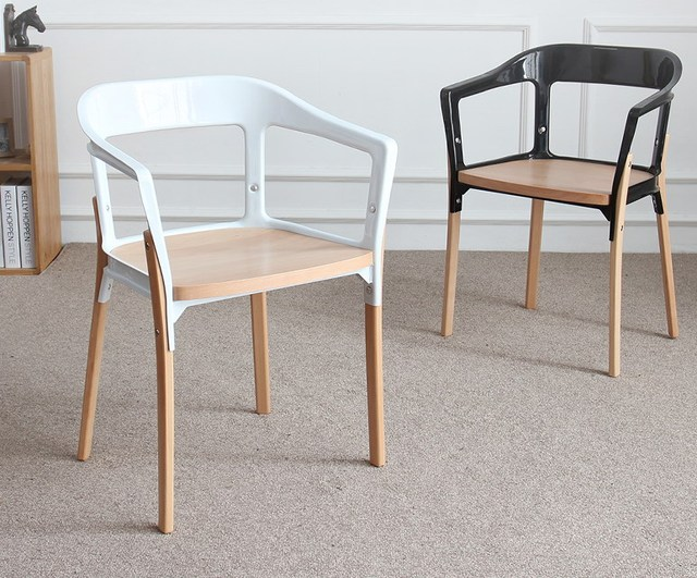 Modern Design Fashion Steelwood Chair Steel +Wood Chair Classic Modern  Standard Steel And Wood Chair