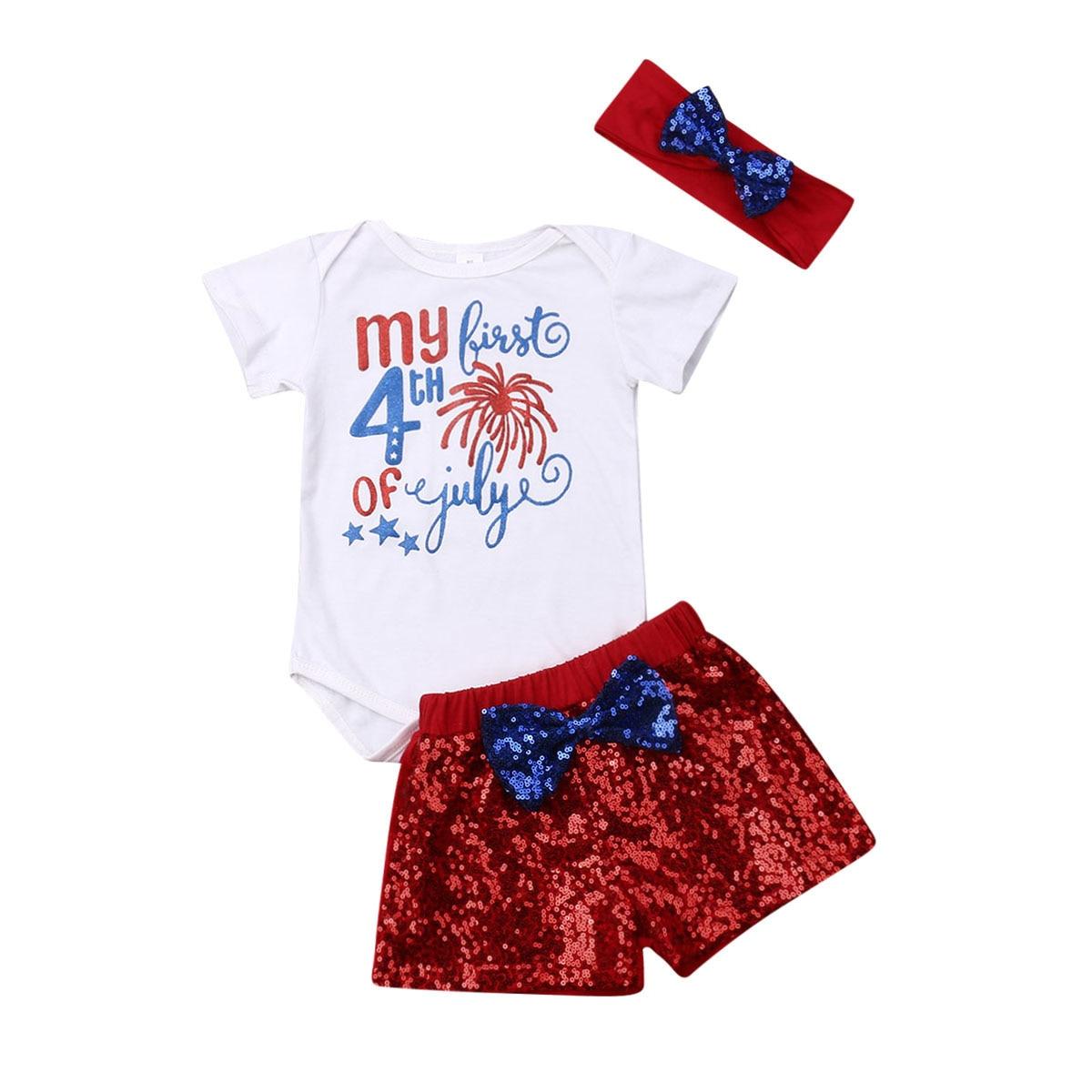 e3a550163 Bebé recién nacido mi primer 4th de Julio, traje de bebé niña niño ropa de  bebé Tops + lentejuelas pantalones cortos + vendas conjuntos de ropa