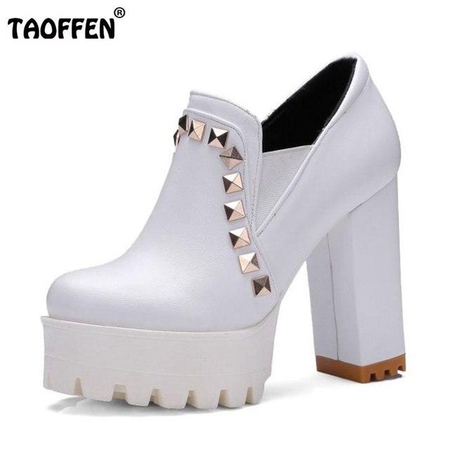 7b7c412d5b Tamanho 33-43 TAOFFEN Feminino Sapatos de Salto Alto Mulheres Plataforma  Dedo Do Pé Redondo