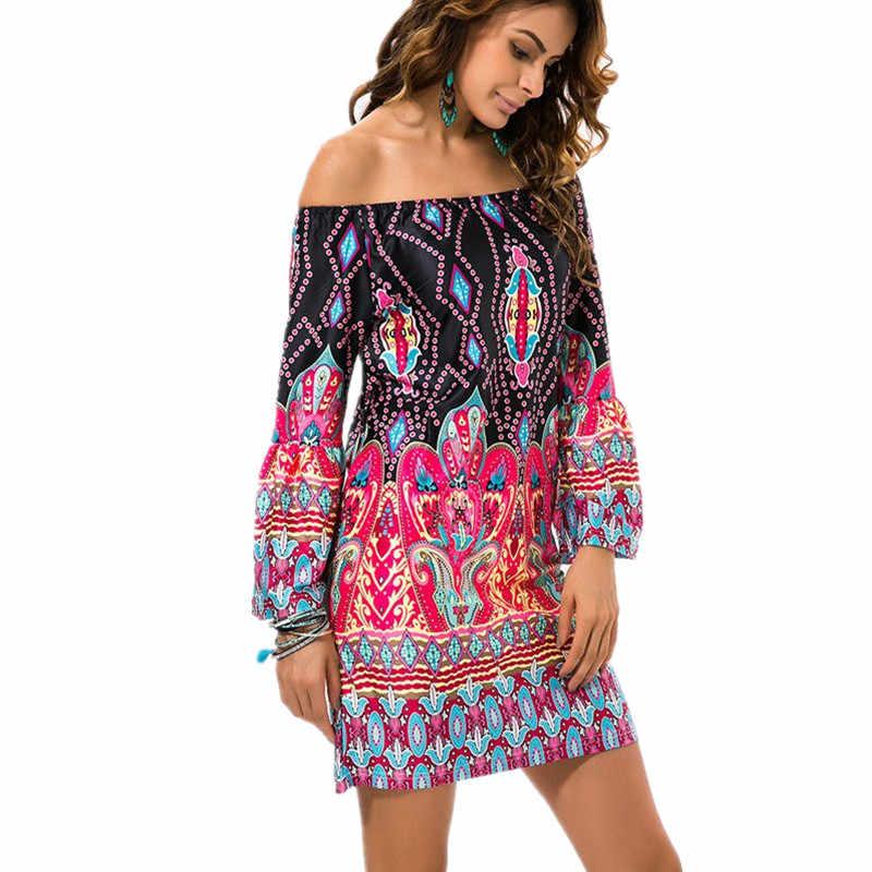 a308d40fe0 Fashion Bohemian Summer Dress Print Beach Vintage Sexy Female Vestidos  Renda Casual Ladies Tops Clothes Women