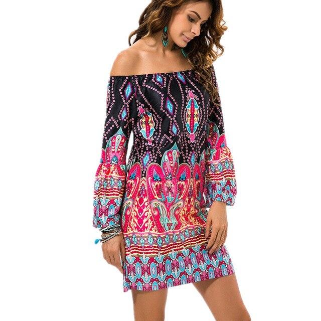 Vaak Fashion Bohemian Summer Dress Print Strand Vintage Sexy @HL24