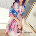 LW2    196*146cm  Summer Korean wild thin shawl long section scarf of women beach towels flowers Beach towel printing shawl