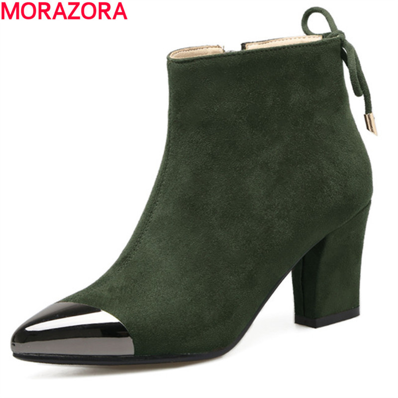 все цены на MORAZORA Pointed toe ankle boots for women fashion shoes woman flock zip high heels boots female mixed colors big size 34-40